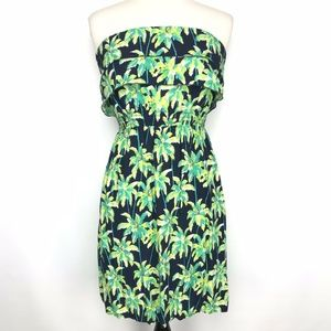 Crown & Ivy Strapless Palm Tree Dress Ruffle Small